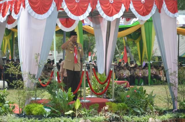 Gubernur Menjadi Pembina Upacara Pada Puncak Peringatan Hari Pramuka Provinsi Lampung 2016